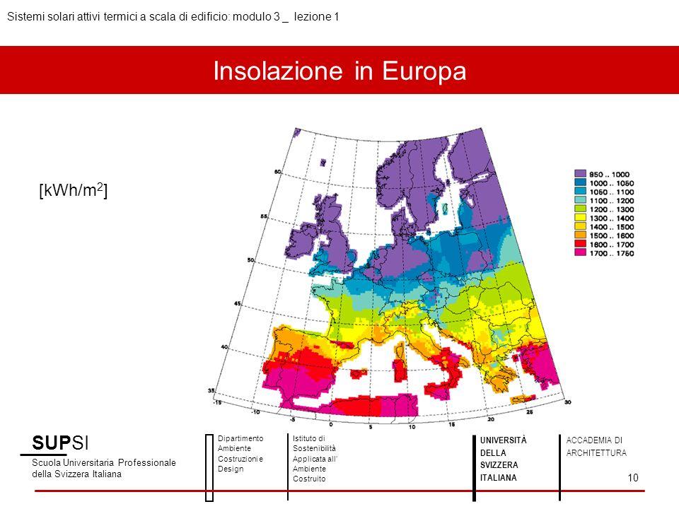 Insolazione in Europa SUPSI [kWh/m2]
